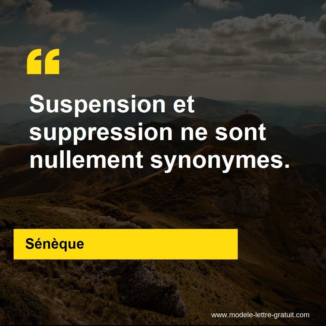 Suspension et suppression ne sont nullement synonymes.